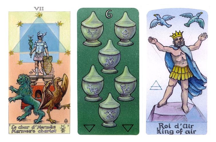 Amostra de três cartas do Le Tarot des Alchemist: O Carro, 6 de Copas e Rei de Espadas
